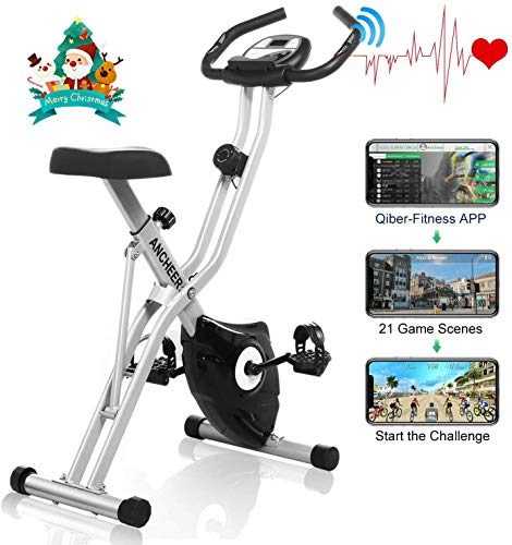ANCHEER Magnetic Resistance Exercise Bike, Folding Indoor Upright Bike with App Program, Compact...