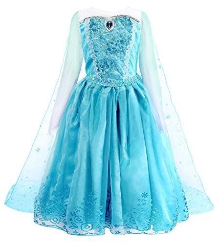 AmzBarley Vestito da Regina delle Nevi per Bambina Ragazza Costume Abito Principessa Carnevale Cosplay Festa Compleanno Vestiti Partito con Capo