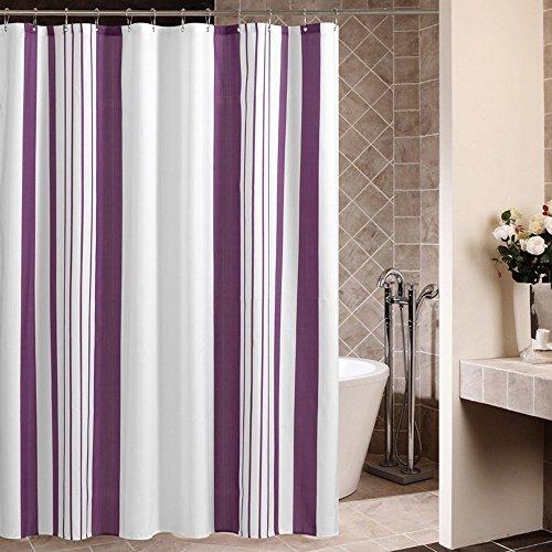 Streifen Duschvorhang Anti-Schimmel & Wasserdicht Polyester Duschvorhang mit verstärktem Saum mit Haken Lila Weiss 180x180cm
