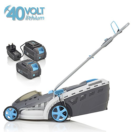 Swift 40 V EB137CD22 Cordless Digital Wide Lawn Mower Cutting Width 37 cm with 2 x Batteries and 1 x Charger