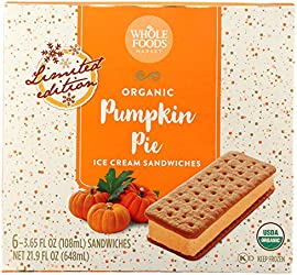 365 by Whole Foods Market, Ice Cream Sandwiches Pumpkin Pie Organic 6 Count, 21.9 Fl Oz
