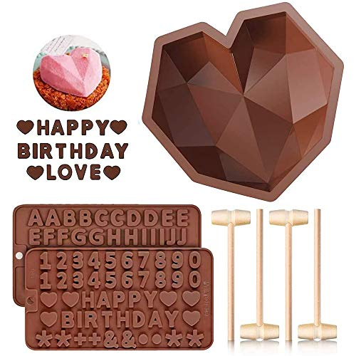 Diamond Heart Shaped Mousse Cake Mold Trays, 8.7 inch Silicone Dessert Baking Pan Safe Not Sticky Mould with 4 Pcs Wooden Hammers and 2 Chocolate Molds for Valentine Candy Chocolate Making (Brown)