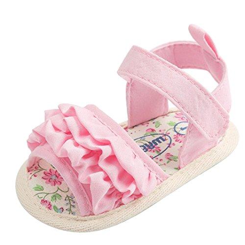 kingko Bébé Fleur Sandales Chaussures Casual Chaussures Sneaker Anti-dérapant Semelle Souple Toddler Chaussures (rose, Âge: 6~12 Mois)