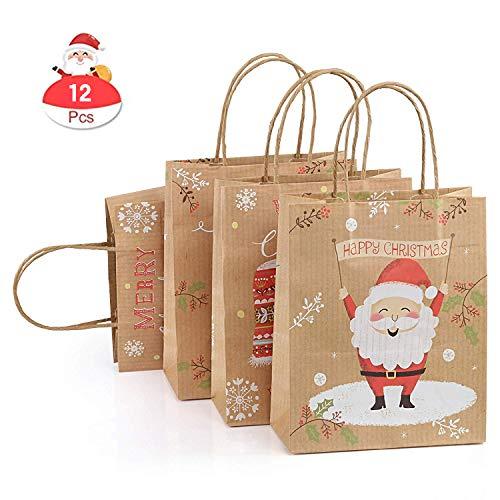 GWHOLE 12 x Bolsas Regalo Navidad Papel Kraft Asa