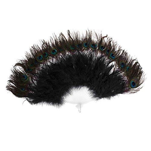 D DOLITY Abanico de plumas de pavo real, para fiestas, cosplay y espectculos, color negro