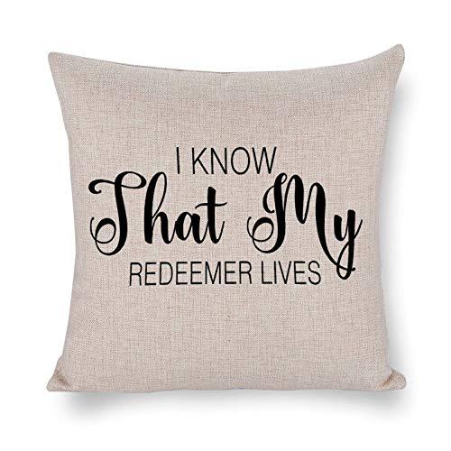 Blafitance I Know That My Redeemer Lives - Funda de almohada decorativa de lino con cita inspiradora, decoración rústica para el hogar, 35 x 35 cm