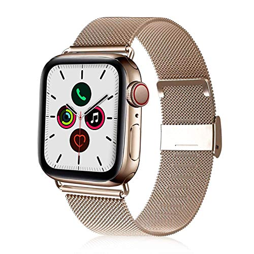 VATI Compatible with Apple Watch Band 38mm 40mm, Stainless Steel Mesh Loop Sport Wristband with Adjustable Magnet Replacement Band Compatible for Apple Watch Series 5, iWatch 4/3/2/1, Light Gold