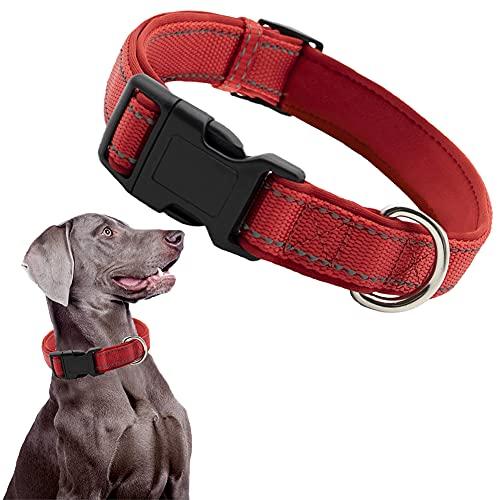 CHMEYUN Collar Perro Pequeños Medianos Reflectante Collar para Perros Acolchado Suave Nylon Ajustable Transpirable para La Caminata Diaria Corriendo -Color Rojo