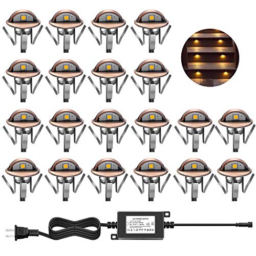 CHNXU LED Deck Step Lights Kit, 20 Pack IP65 Waterproof Landscape Lighting with Transformer, Recessed 12V Low Voltage Outdoor Decoration Wall Lamps for Stairs Patio Garden Yard ( Warm White, Bronze)