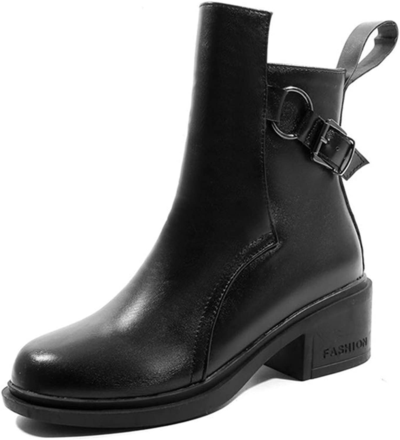 Fashion shoesbox Women's Chunky Martin Ankle Boots Buckle Round Toe Platform Slip On Booties Mid Heel Dress Short Boot