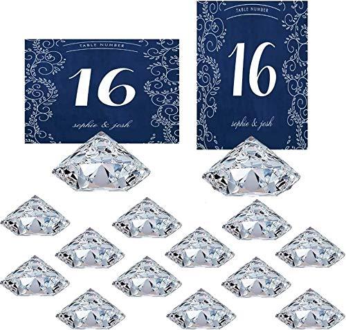 HOHIYA Diamond Place Card Holders Table Number Wedding Acrylic Crystal (Clear,Pack of 12)