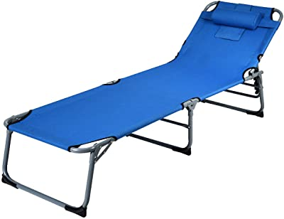 KINGBO Folding Portable Patio Chaise Lounges Reclining Patio Lounger Chair Lawn Recliner Sunbathing Chair with Headrest for Indoor /& Outdoor Nap Bed Textilene