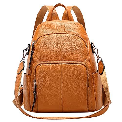 ALTOSY Echtleder Damen Rucksack Tasche Elegant Anti-Diebstahl Tagesrucksack Schultertasche (S81, Orange)