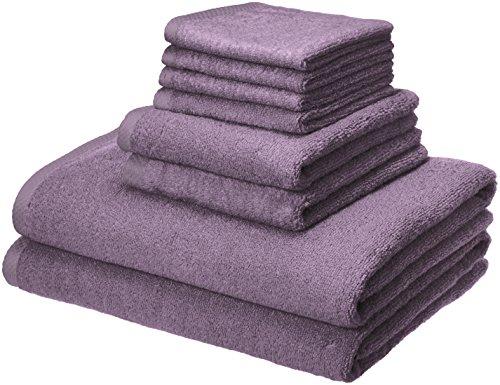 Amazon Basics Quick-Dry, Luxurious, Soft, 100% Cotton Towels, Lavender - 8-Piece Set