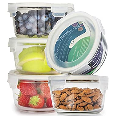 [5-Pack] Glass Meal Prep Containers Glass Round - Glass Food Storage Containers - Glass Storage Containers With Lids - Glass Lunch Containers Food Container - Glass Food Containers, 25oz