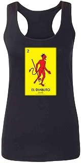 Pop Threads El Diablito Devil Loteria Card Mexican Bingo Fashion Tank Top Tee for Women