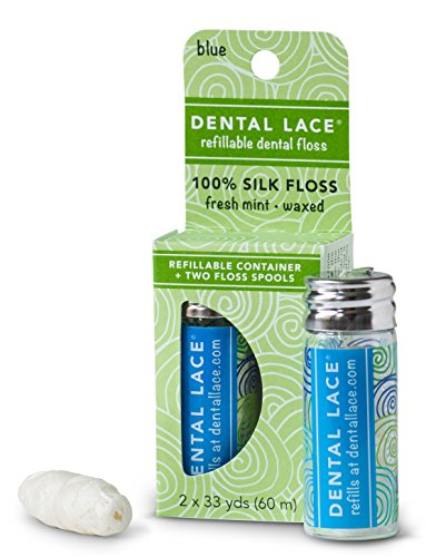 Dental Lace   Silk Dental Floss   Includes 1 Refillable Recyclable Dispenser and 2 Floss Spools with Natural Mint Flavoring   66 Yards (Blue)