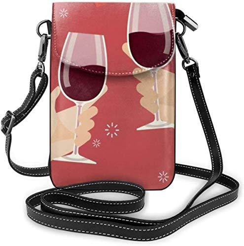 NA Handytasche Kleine Umhängetasche Valentinstag Mann und Frau beim Anstoßen von Weingläsern Brieftaschen mit verstellbarem Schultergurt Frauen