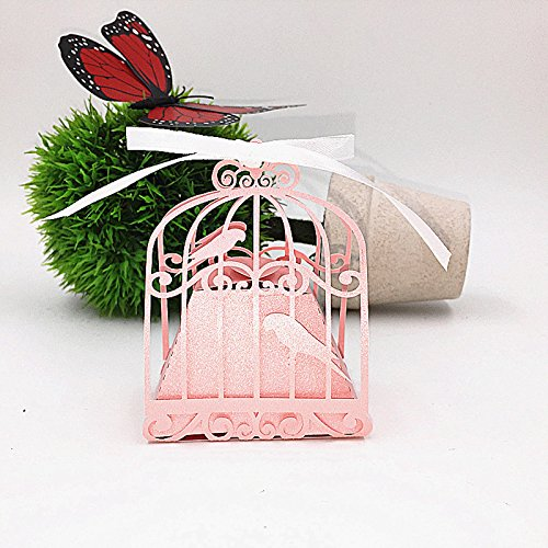 Saitec New 50pcs birdcage wedding favor box love birds candy box wedding favors and gifts wedding decoration gift box for wedding (Pink)