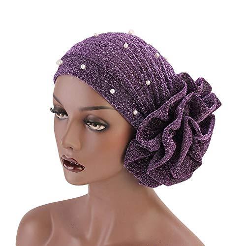 GUOYANGPAI Gorro de Turbante con Purpurina con Cuentas para Mujer, Diadema de Flores Grandes, Accesorios para envolturas de Cabello para Fiesta de Boda, púrpura, Talla para Todos