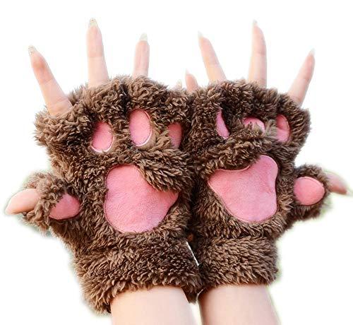 Houlian shop-handschoenen Kat Klauw Handschoenen Winter Leuke Cartoon Kat Meisje Mitt Handschoenen Dikke Villi Beer Paw Half Vinger Handschoenen handschoenen-10.7