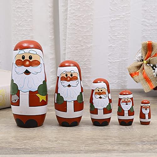 QIFFIY Muñecas de anidación de Navidad Papá Noel tradicional Matryoshka 1 juego de muñecas rusas de madera de anidación de animales de pintura hecha a mano decoración tradicional (color: estilo 2)
