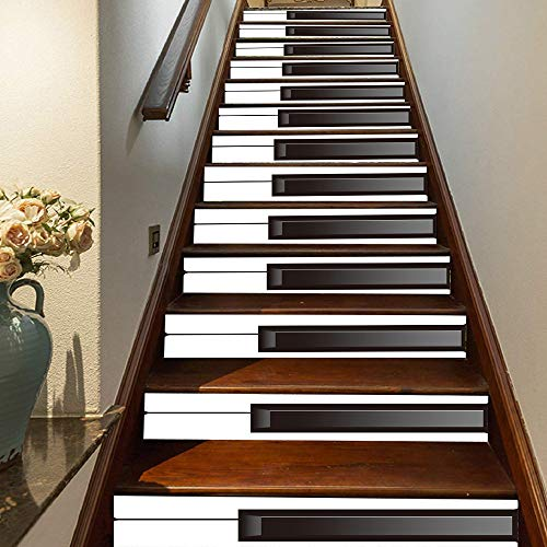 FLFK 3D Weißes und schwarzes Klavier Selbstklebend Treppen Aufkleber Vinyl Abnehmbare Aufkleber für Treppenhaus Zuhause Dekoration 39.3Zoll x7.08Zoll x13 stücke