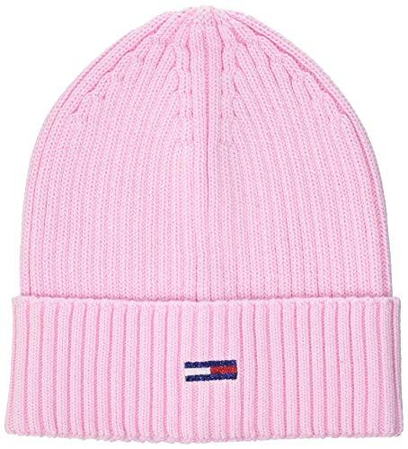 Tommy Hilfiger Tjw Basic Flag Rib Beanie Gorro/Sombrero, Romantic Pink, OS para Mujer