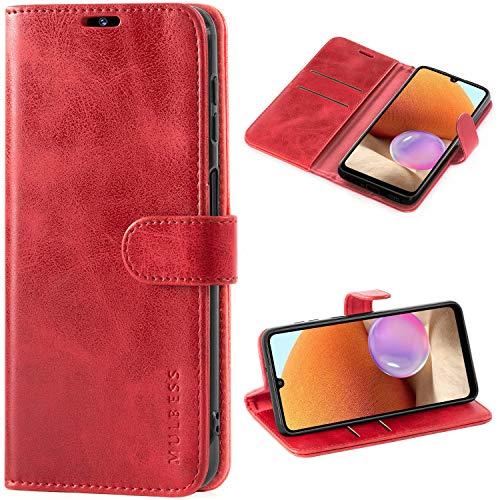 Mulbess Cover per Samsung Galaxy A32, Custodia Samsung Galaxy A32 Portafoglio, Flip Cover Libro per Samsung Galaxy A32 in Pelle, Vino Rosso