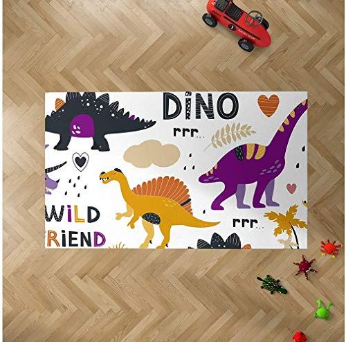 Oedim Alfombra Infantil Dinosaurios Colores para Habitaciones PVC | 95 x 200 cm | Moqueta PVC | Suelo vinílico | Decoración del Hogar | Suelo Sintasol | Suelo de Protección Infantil |