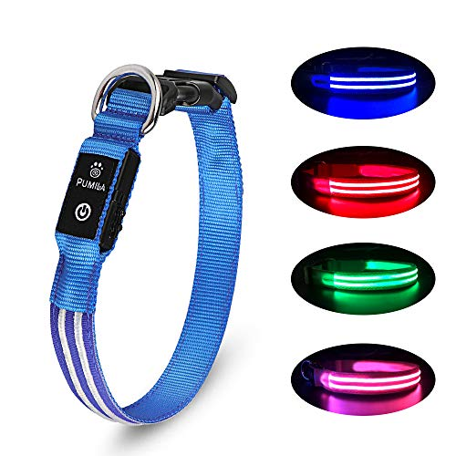 PcEoTllar LED Hundehalsband Wiederaufladbare USB 100% Wasserdichtes Leuchtendes Hunde Halsband Einstellbare für Kleine Mittlere Große Hunde - Blau - L
