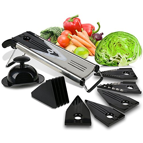 Premium Mandoline Fruit amp Vegetable Cutter for Home and BusinessCheese Grater Potato Slicer | Vegetable Chopper: Includes 5 Inserts Black Blade Guard Finger Guard | Free Recipe EBooks