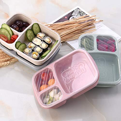 Footprintse Paja de trigo Bento Box 3 Rejillas con tapa Microondas Food Box...