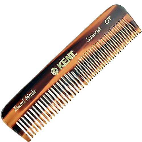 Kent A OT Small Double Tooth Hair Pocket Comb, Fine / Wide Tooth Comb For Hair, Beard and Mustache, Coarse / Fine Hair Grooming Comb for Men, Women and Kids. Saw Cut Hand Polished. Handmade in England
