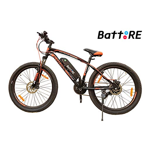 BattRE Electric Cycle. 250 Watt Motor, 36 v Lithium Battery, Steel Frame, Front Suspension, 21 Gears, F/R Disc Brakes, Multicolour