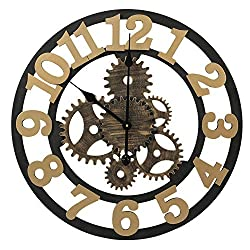 Adeco 14~15 Large Retro Wall Hanging Clock - Antique-Look Dial -Decorative Round Rococo Iron Clock, Arab Numbers, Silent Battery Quartz, Home Office Decor, Brown