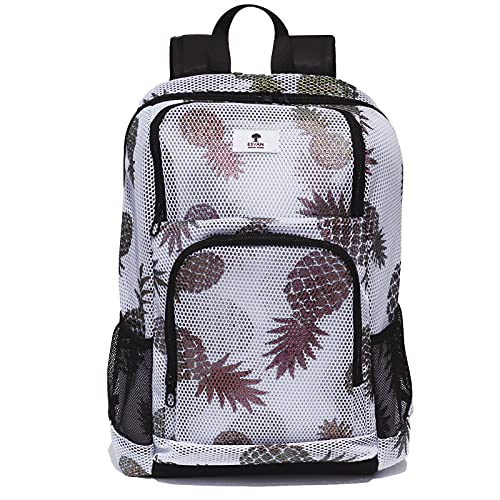 Original Floral Mesh Backpack Semi-Transparent Sackpack See Through School Bag Multi-Purpose Daypack Women Men (White Pineapple)
