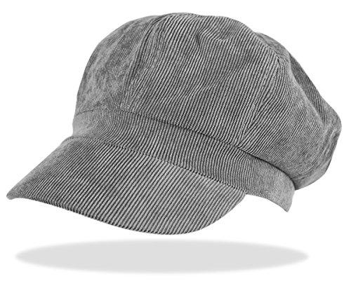 dy_mode dy_mode Schirmmütze Damen Ballonmütze Cord Kappe Damen Mütze mit Schirm Damenhut - BM110 (BM110-Grau)