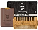 Wooden Beard Comb & Carry Case - Premium Sandalwood Beard Comb with Dual Sided Fine & Coarse Teeth - Pocket Sized & Anti-Static Real Wood Comb for Every Day Use by Striking Viking