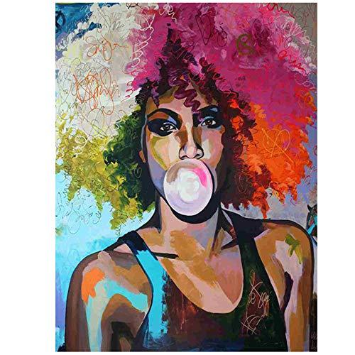 NIESHUIJING Druck auf Leinwand Abstrakte Kaugummi Mädchen Afrikanische Frau Malerei auf Leinwand Poster Wandkunst Bild für Wohnzimmer 15,7