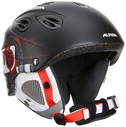 ALPINA Kinder Skihelm GRAP Junior, Schwarz-rot (Black-red), XS-S (51-54 cm)