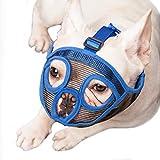 ILEPARK Bozal para Perros de Hocico Corto, Bozal de Bulldog Anti-Mordiscos y Ladridos, Máscara para Perros (M,Azul)