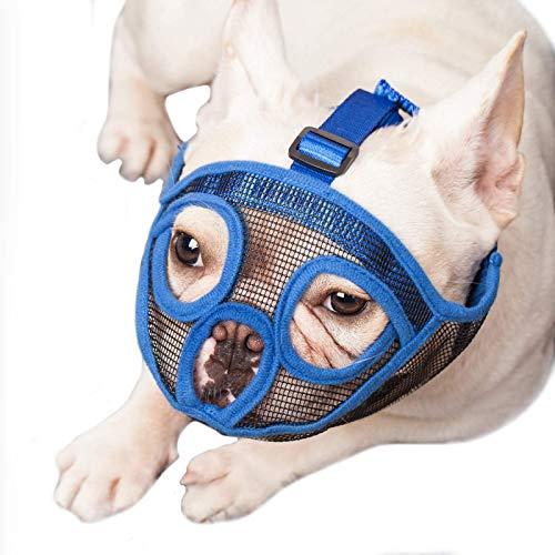 ILEPARK Maulkorb für Hunde mit kurzer Schnauze, Bulldogge Maulkorb Anti-Beißen, Kauen, Bellen, Hundemaske.(L, Blau)