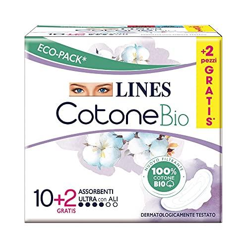Lines - Compresas de algodón con alas (10 + 2 unidades)