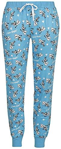 Die Eiskönigin Frozen Olaf - I Love Hugs Mujer Pantalón de Pijama Multicolor XXL, 100% algodón,