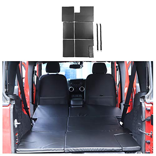 JeCar for Jeep Sleeping Pad Mat, Folding Travel Camping Back Seat Bed Mattress for 2007-2018 Jeep Wrangler JK & Unlimited 4 Door