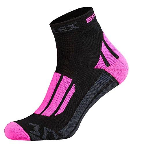 Tobeni 1 Paire Chaussettes Fonctionnelles Femme Course Courtes 3D-Reflex Couleur Pink-Noir Taille 35-38