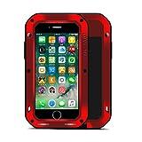 iPhone 7 Funda : Fonrest Love mei Poderosa armadura del metal de aluminio a prueba de golpes Gorilla Glass Snowproof Cubierta Carcasa Hermética al polvo para el iPhone 7 (iPhone 7, Rojo)