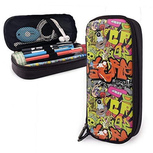 Lsjuee Hip Hop Funky Grunge Culture Crâne Étui à crayons en cuir avec fermeture à glissière, 8 X 3,5 X 1,5 pouces Microfibre PU Cuir Papeterie Fournitures d'art Collège Bureau Porte-crayon Étui à sty