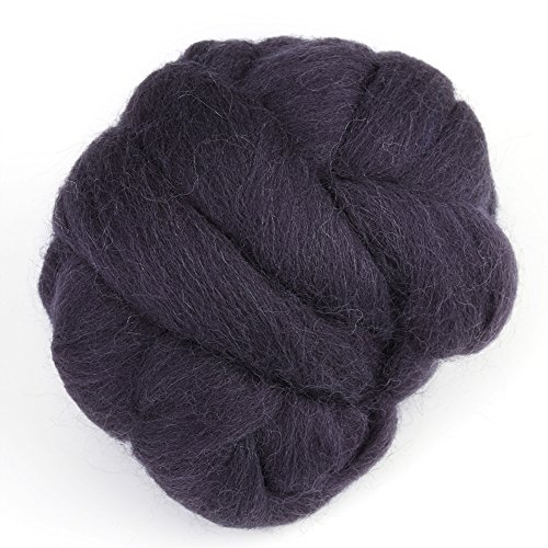 Lana de lana de hilado de lana de fieltro de hilado de lana de lana itinerante Super suave mano Spinning DIY Craft materiales 55 g(Negro)